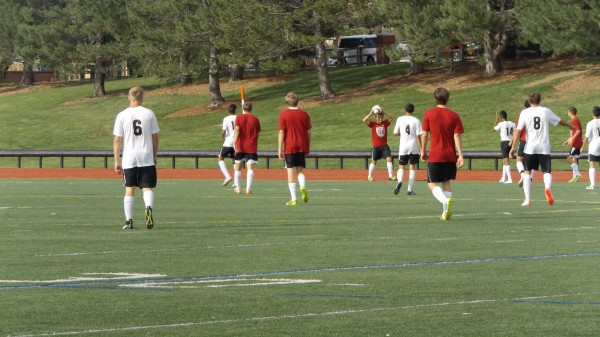 Rangeview boys soccer team during scrimmage.