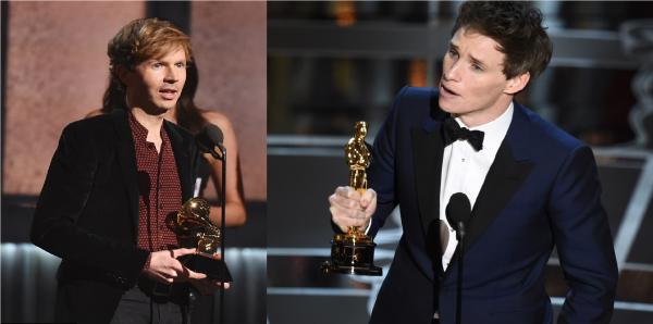 Beck+%26+Eddie+Redmayne+accepting+their+prestigious+awards.