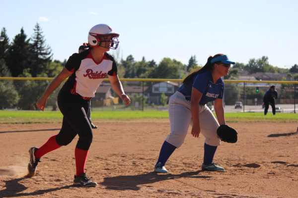 Yamilet+Corral%2C+sophomore%2C+stands+on+third+base+against+her+opponent.+The+girls+came+out+of+this+game+17-0+against+Hinkley.+The+Raiders+have+a+home+game+today+against+Vista+PEAK+Prep+at+4%3A30+p.m.%2C+make+sure+to+come+support.+