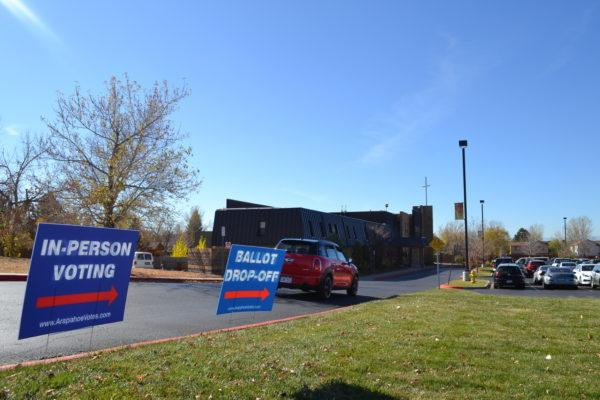 Feature+Photo+By%3A+Hannah+Metzger-+A+car+drives+into+the+New+Life+parking+lot+which+is+serving+as+a+polling+center+for+the+Arapahoe+district.+Today%2C+November+8th%2C+is+election+day+and+several+members+of+the+community+arrived+at+New+Life+to+serve+their+civic+duty+of+voting.+