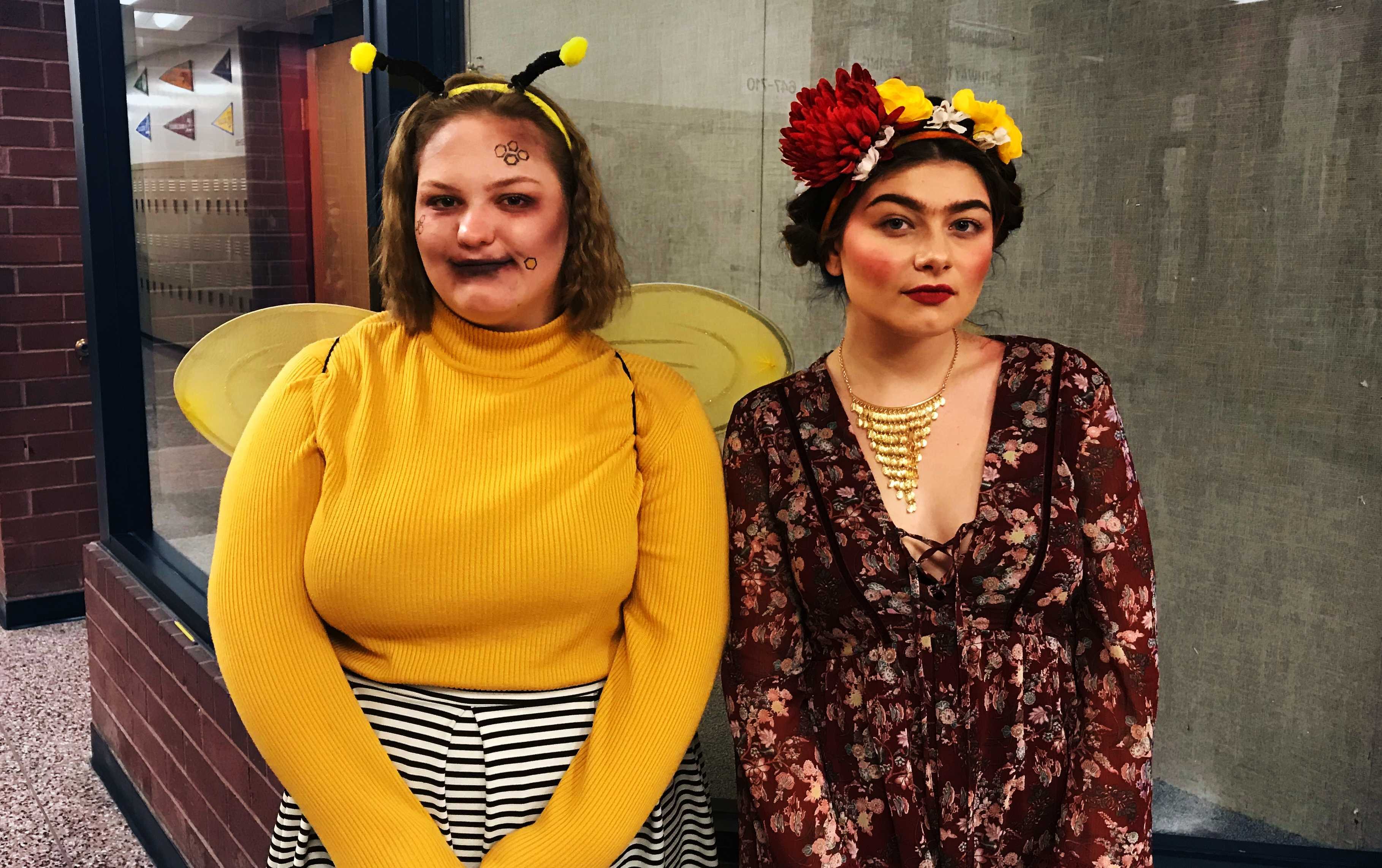 Feature Photo By: Jaylen Dunbar – Juniors Laura Good and Khloie Westback pose in their costumes in celebration of Halloween. Students who have donated $1 to Make-A-Wish are allowed to wear their costumes.