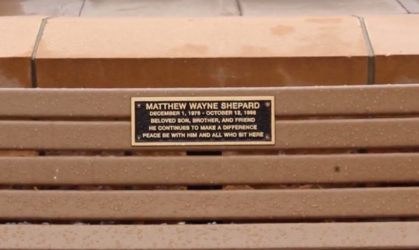 A bench with a plaque memorializing the life of Matthew Shepard sits in Laramie, Wyoming. Rangeview theater students visited Laramie to visit sites like this before the show was performed last week. (Yucheng Zhang)