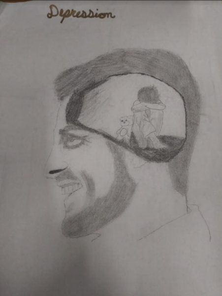 Drawing that depicts the general idea of how someone with depression may feel. People with depression may seem to be happy, but inside, they could be feeling worthless and alone.