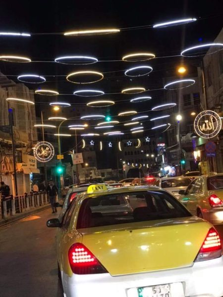 Feature Photo provided by Wafa Duwaik: Lights hang from buildings in Jordan ad Ramadan begins.