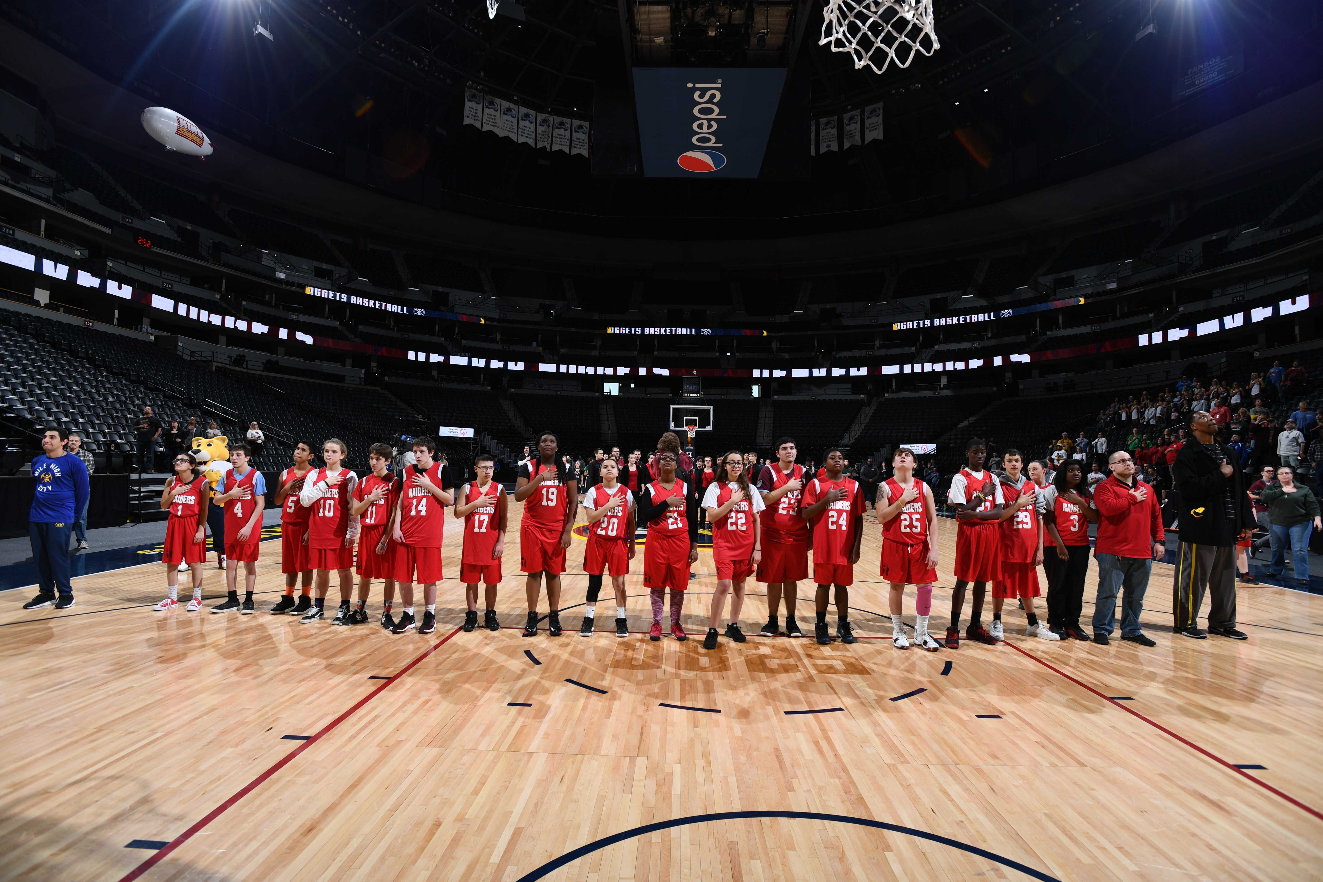 DENVER, CO - JANUARY 18: The Denver Nuggets host the Special Olympics of Colorado for a clinic on January 18, 2019 at the Pepsi Center in Denver, Colorado. NOTE TO USER: User expressly acknowledges and agrees that, by downloading and/or using this Photograph, user is consenting to the terms and conditions of the Getty Images License Agreement. Mandatory Copyright Notice: Copyright 2019 NBAE (Photo by Garrett W. Ellwood/NBAE via Getty Images)
