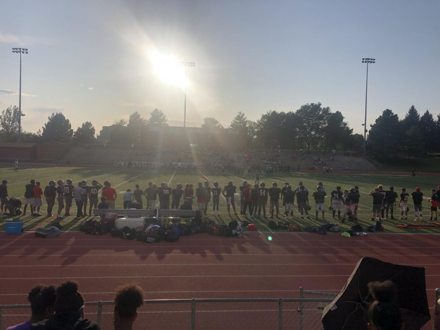 The+Raiders+stand+ready+to+take+on+Overland+and+Vista+Peak+in+their+first+scrimmage+of+the+year.+They+played+them+at+the+Stutler+Bowl.