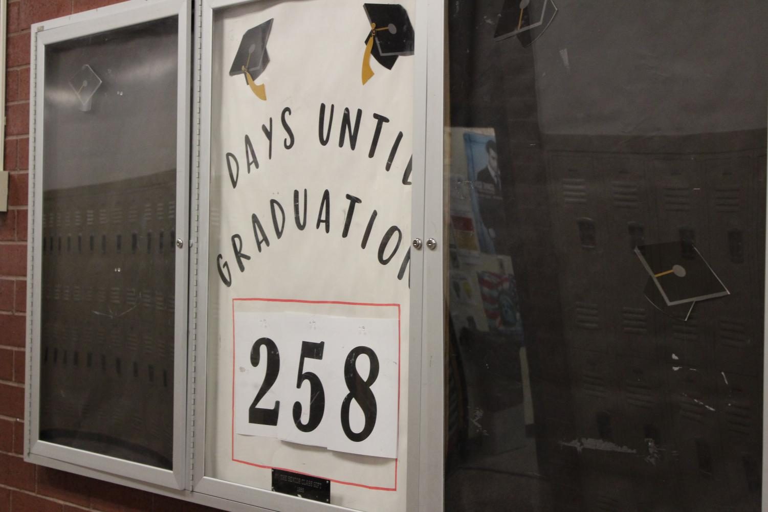 The+countdown+continues+for+graduation.+Currently%2C+there+are+256+days+until+May+18th.+%E2%80%9CI+am+ready+to+graduate%2C%E2%80%9D+said+senior+Victoria+Quigley.+