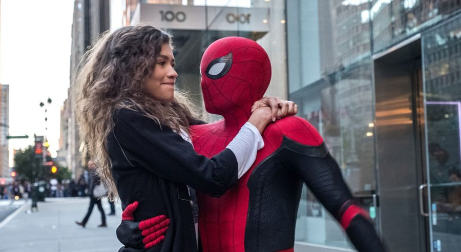 Spider-Man and MJ share a loving embrace following a web-slinging adventure across NYC (Sony Pictures).