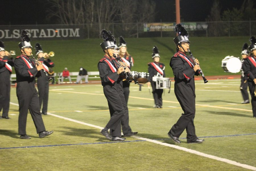 During+a+football+game+of+Rangeview+versus+Prairie+View%2C+the+band+performed+at+halftime.+Carlos+Heredia+is+pictured+on+the+far+left.+%28Ajahnae+Norman%29