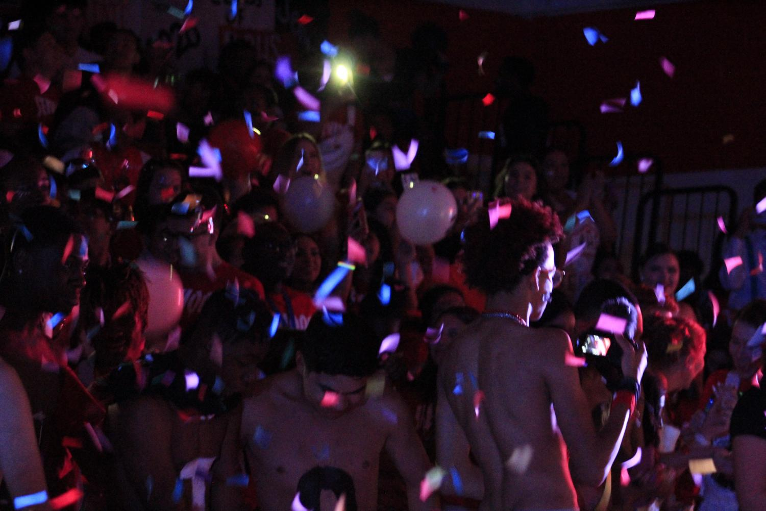 Confetti falls at Rangeview High School's Homecoming assembly as the senior section is loud and proud to be raiders. Many students agree that the HOCO assembly goes all out; with performances by students, short speeches from staff, and many other special moments.