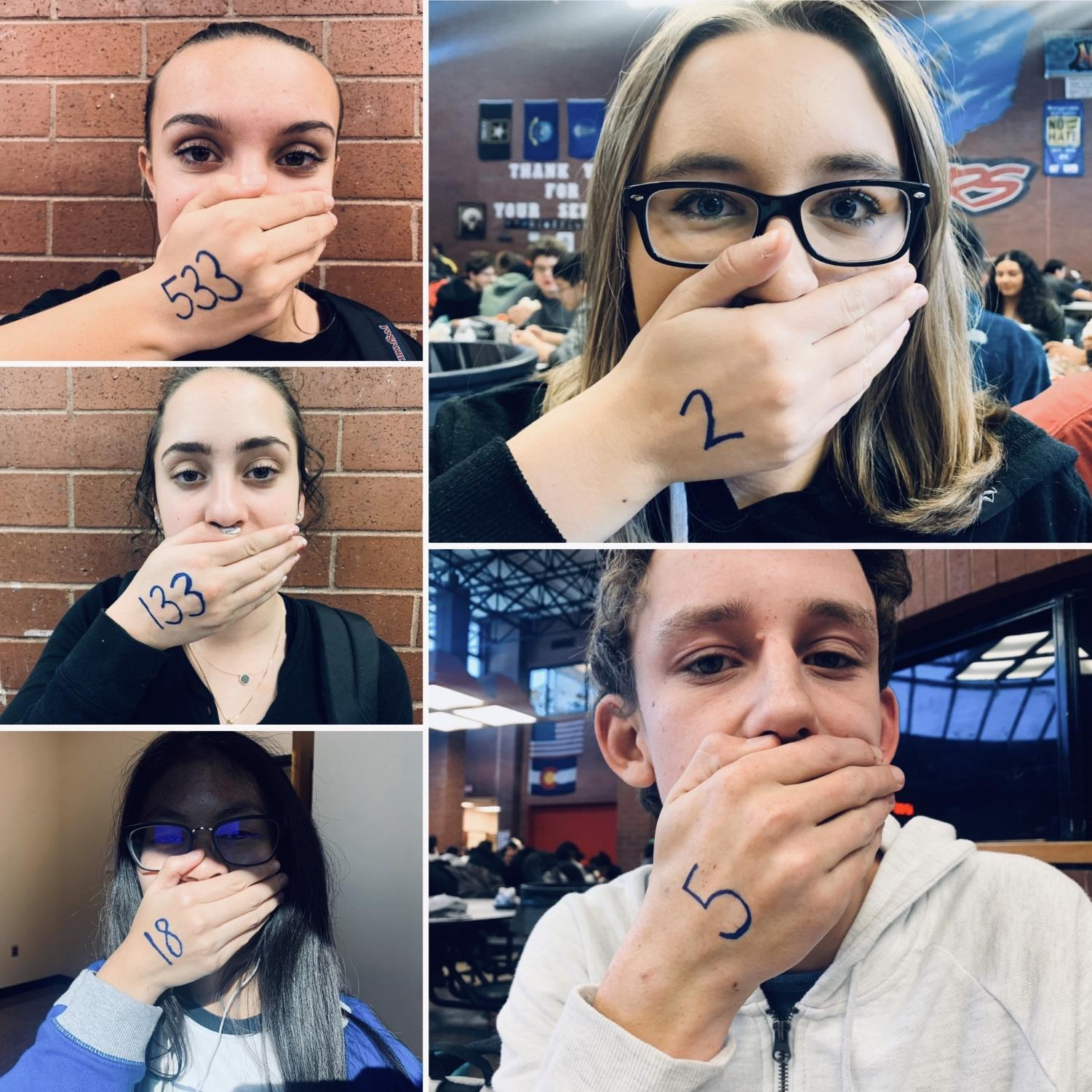 Feature photo by: Joslyn Bowman - A collage of students pose with a number written on their hands. These numbers represent a label they've been given that they don't like.