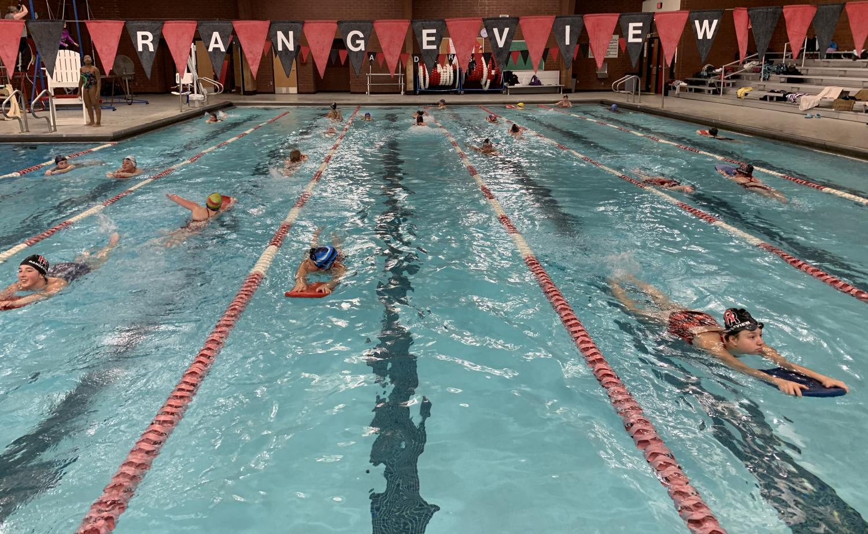Girls swimming practice on December 10th. (Katiana Williams)