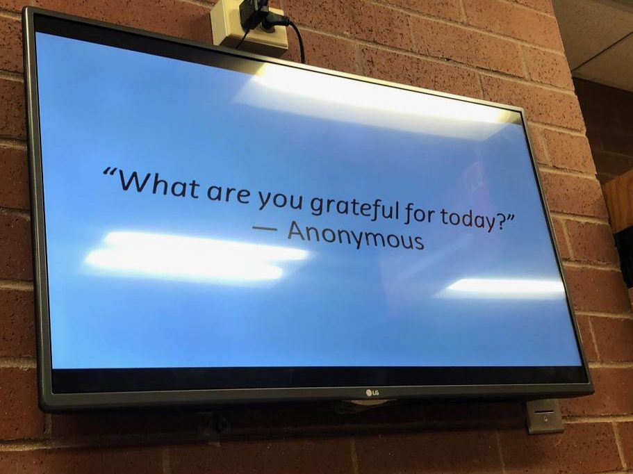 Feature Photo by Brianna Sanchez: A quote is shown outside the counseling office. Messages displaying gratitude were spread all around the school.