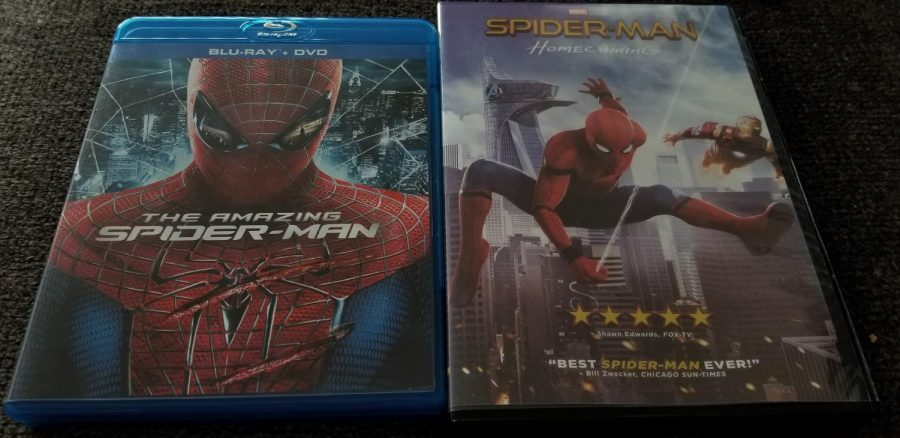 A+comparison+between+The+Amazing+Spider-Man+and+Spider-Man%3A+Homecoming%E2%80%99s+movie+cases.+Both+are+very+colorful%2C+but+differ+in+the+mood%2C+as+The+Amazing+Spider-Man+is+darker.