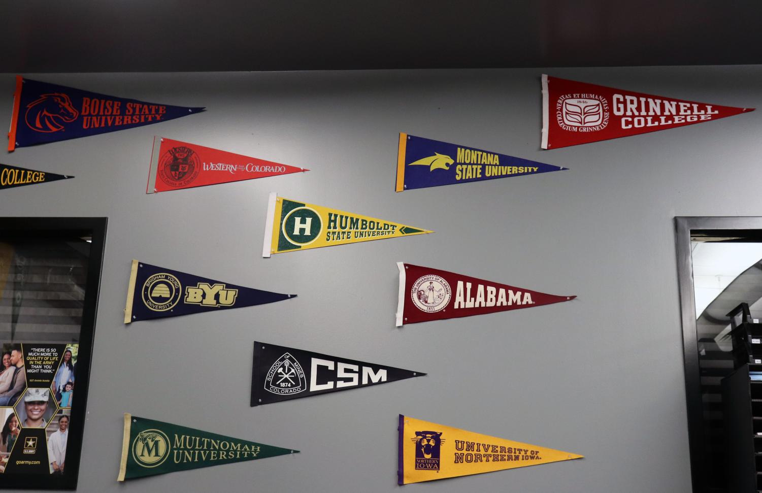 Feature Photo by: Eric Huynh - Many college pennants hang on the College and Career Center here at Rangeview. With colleges lingering within many seniors' horizons, the idea of being racially profiled may weigh on their mind.