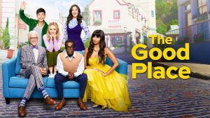 The Good Place thumbnail for its fourth season, featuring the main cast of the show. (Top, left to right features: Jason Mendoza, Eleanor Shellstrop, and Janet) (Bottom left to right, Michael, Chidi Anagonye, and Tahani Al-Jamil) (The Good Place)
