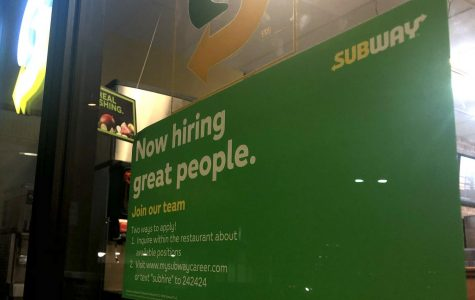 Subway advertises the opportunity for hire on their entrance to the restaurant. Most job applications are online now.