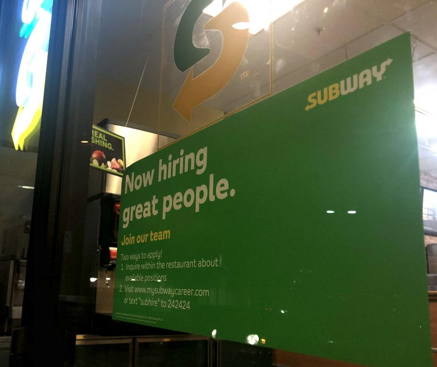 Subway+advertises+the+opportunity+for+hire+on+their+entrance+to+the+restaurant.+Most+job+applications+are+online+now.