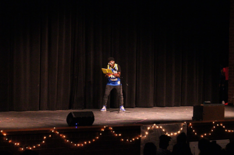 Sophomore Daryn Ofori-Kuragu performs rapped Dr. Seuss words for his Mr. RHS performance.