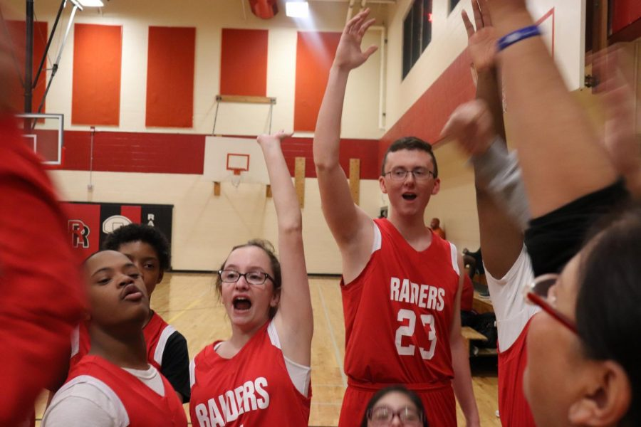 Feature+Photo+by+Brianna+Sanchez+-+Freshman+Jordan+Lewis+leads+a+cheer+before+the+Unified+Basketball+game+on+Tuesday.+%28Brianna+Sanchez%29