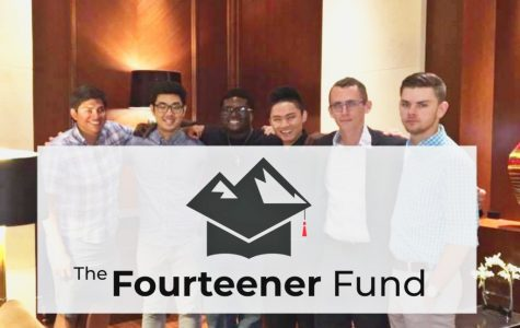 The Fourteener Fund Founders pose for a group photo. Pictured from left to right: Andy Stockinger, Do Park, Nathaniel Bradley III, Bruce Ahn, Nick Koeppen, and Sean Downs. This friend group has started a non-profit organization to help Rangeview seniors called The Fourteener Fund.