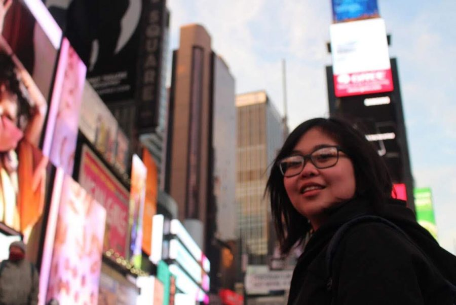 Irl Paulalengan poses in Times Square New York during College Track New York Trip. (Toli Geshow)