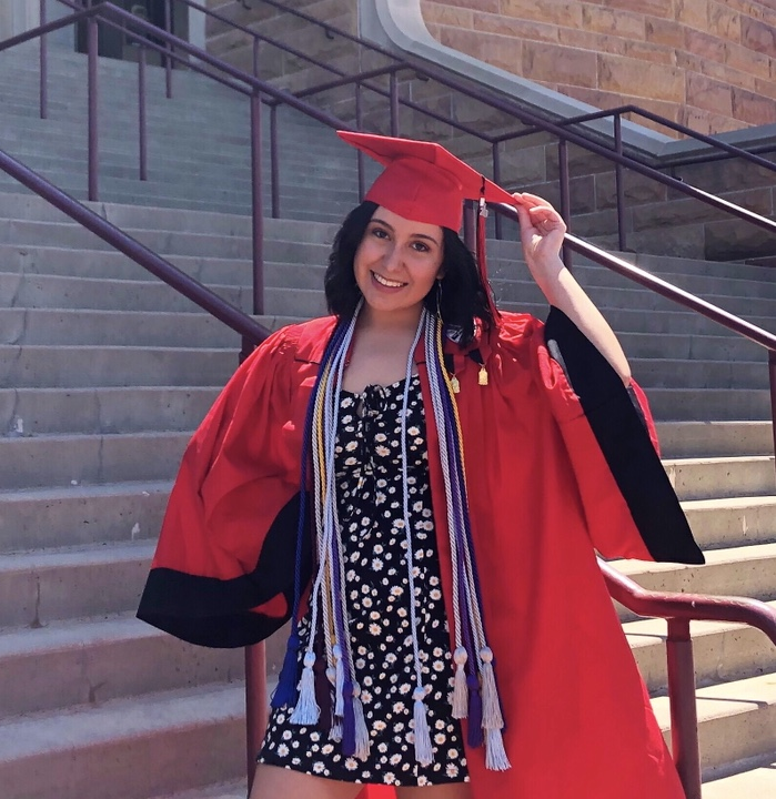 Senior Editor-and-Chief, Myriam Alcala, poses for her graduation photos. Alcala was a part of the Raider Review staff for three years as a reporter, opinion editor, and finally, editor-and-chief; and, accredits her success to the All-Colorado winning journalism program at Rangeview. (Myriam Alcala)