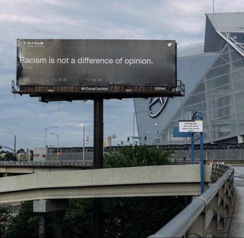 A billboard represents how cities across the U.S. are supportive of the #BlackLivesMatter movement