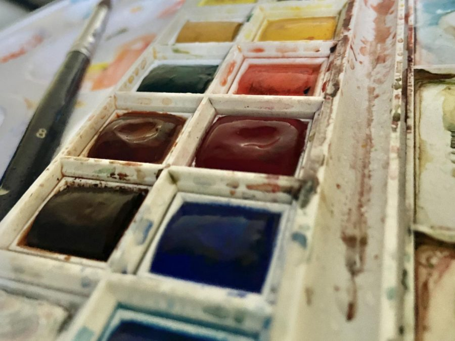 Watercolor paints rest in a pallet. Watercolors are dried blocks of paint that can be reused over and over again. (Hera Pokheral)