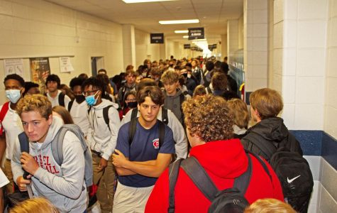 The crowded hallways during a passing period at Effingham County High School in Springfield, Georgia are shown. The lack of social distancing and masks worn is. (Photo by Rick Lott/ for Savanahnow.com)