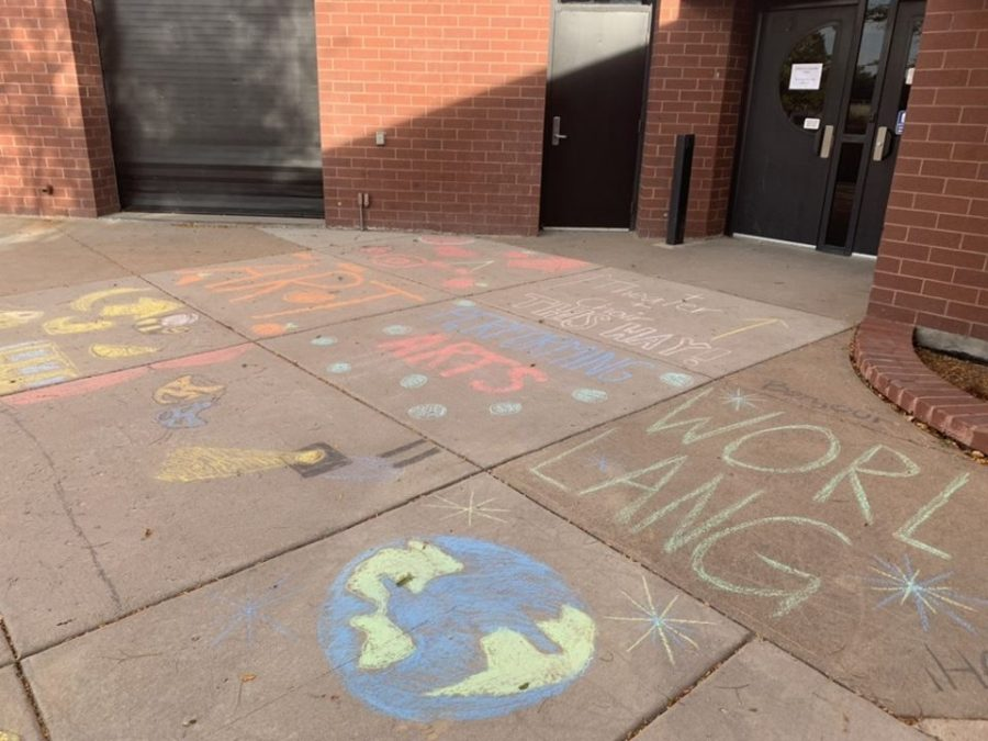 Rangeview's leadership class spent hours making a chalk walk.
