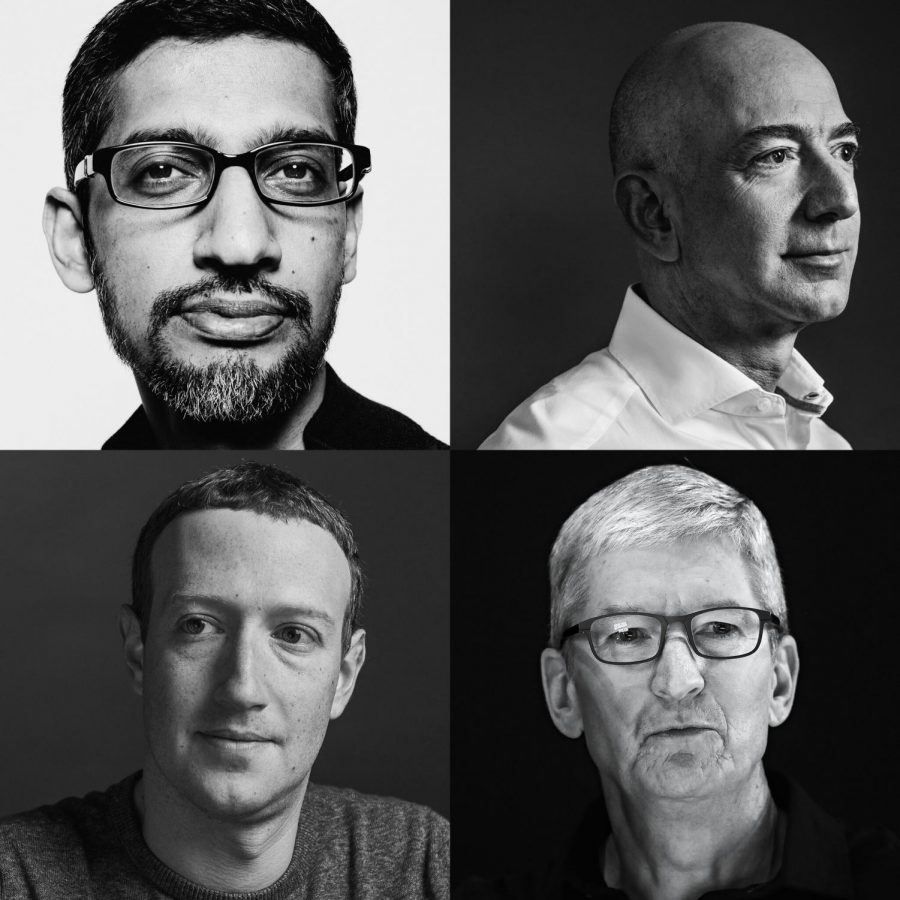 The founders of four of the biggest tech companies in the world (Clockwise from top left: Sundar Pichai of Google, Jeff Bezos of Amazon, Tim Cook of Apple, and Mark Zuckerberg of Facebook). (The New York Times)