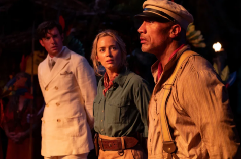 Blunt, Johnson, and Whithalls characters being captured in the Jungle mid journey. (Jungle Cruise Movie)