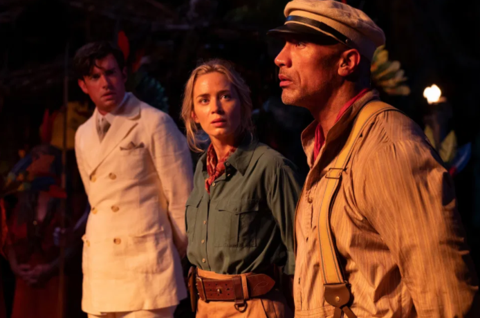 Blunt%2C+Johnson%2C+and+Whithalls+characters+being+captured+in+the+Jungle+mid+journey.+%28Jungle+Cruise+Movie%29%0A
