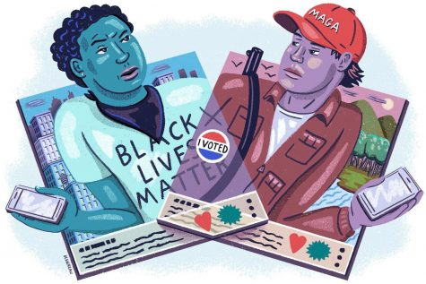 BLM Supporter on the left and a Trump (Make America Great Again) supporter on the Right, representing a difference in opinions in politics.