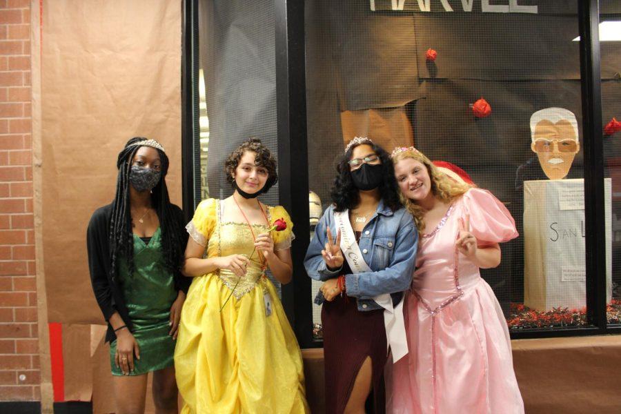 Junior Carole Atchroko and sophomores Ingrid Romero, Hayley Hanson, and Kylee Foster dressed up as Disney princesses. (Aubry Vigil)